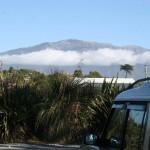Solig morgon i Kaikoura med Sydalperna i fonden