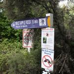 Vandringsled till stranden med Split Appel Rock i Tasman Bay